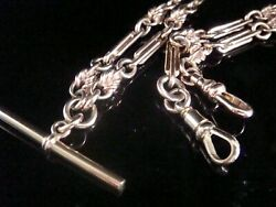 Edwardian 9ct Rose Gold Solid Albert Double Dog Clip Chain 19 Inches 32.2g