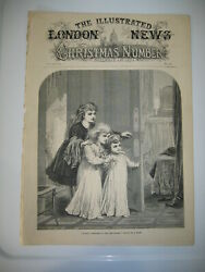 1874 A Happy Christmas To Papa And Mamma By A. Hunt Wood Antique Engraving Print