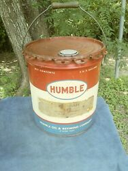 Vintage Humble Oil 5 Gallon Empty Rust Ban Metal Can