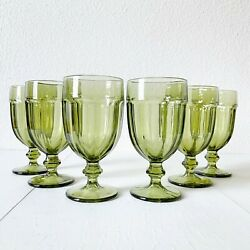 Vintage 90and039s Green Glassware Sets Libbey Gilbraltar Duratuff Verde Water Goblet