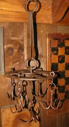 Antique Hand Forged Wrought Iron Dutch Crown / Game Rack / Meat Hooks