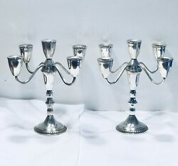 Pair Of Duchin Sterling Silver 5 Arm Convertable Candelabra