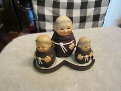 Goebel Friar Tuck Monks Salt And Pepper Shakers W Honey Pot And Tray West Germany