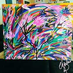 Original Acrylic Painting Signed 16x21 Canvas Abstract 7 Of 20 Fe Series