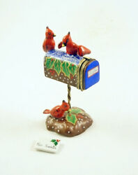New French Limoges Trinket Box Mailbox W Christmas Holly And Cute Cardinal Birds