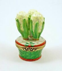 New French Limoges Trinket Box White Hyacinth Flower In Pot With Christmas Holly