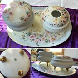 Limoges France Tandv Tresseman And Vogt Hand Painted Vanity Set With Tray Antique