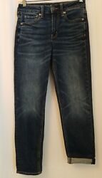 American Eagle Hi-rise Tomgirl Jeans Size 0 Short Stretch X Dark Whiskered