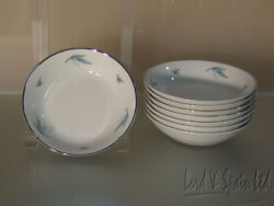 8 Syracuse China Celeste Blue Leaves And Silver Trim Berry/fruit Bowls