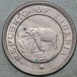 1941 Liberia Half Cent Coin Elephant Ship Palm Tree 91andcent Shipping