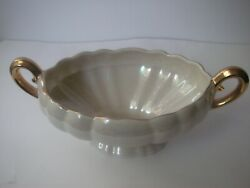 Vintage Mid Century Luster Ware Iridescent Pearl China Bowl Handles 22k Gold Mcm
