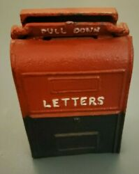 Vintage Red/white/blue Cast Iron Coin Bank Letterbox Mail Box With Wall Mount