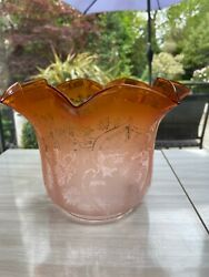 Victorian Peach Acid Etched Oil Lamp Shade