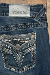 Vigoss The Dallas Slim Boot Blue Jeans Women#x27;s 9 10 x 31 Stitched Embellished