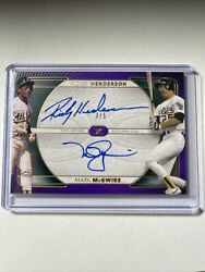 Rickey Henderson Mark Mcgwire 2021 Topps Definitive Red Auto Autograph 3/5 A's