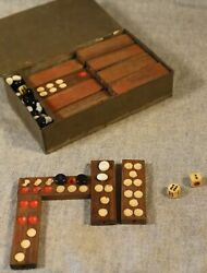 Antique Set Of 32 Rosewood Dominoes Set With Hand Made Tin Box