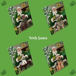 Christmas Irish Santa With Gifts Dogs Cats Glass Tempered Cutting Board