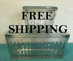 Lot Of 2  Vintage Ribbed Clear Glass Containers With Lids 4-1/2 And 8-1/2