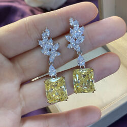 14k White Gold Over Sparkling Canary Yellow And Diamond Drop Earrings For Women