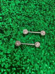14g Nipple Ring 9/16 14mm In 14k White Gold Over With Round Cut Diamonds 1.12ct