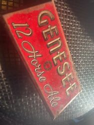 1930s Early Genesee 12 Horse Ale Stamped Beer Tin Over Cardboard Sign Toc Ny