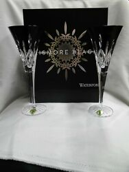 Waterford Crystal Lismore Black New Pair Champagne Toasting Flutes 9.3 Box
