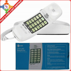 Atandt Telephone Push Button Corded Desk Wall Mount Home Trimline Phone White