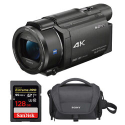Sony Fdrax53/b 4k Hd Video Recording Camcorder With 128gb Card And Case Bundle