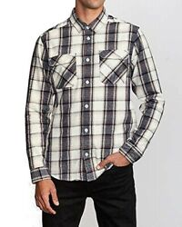 Rvca Mens Shirt Blue Size Small S Button Front Flannel Plaid Print 60 267