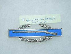 Wwii Us Army Sterling Combat Infantry Badge Cib Named 94th Division