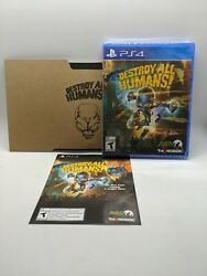 Destroy All Humans Ps4 Sony W/collectors Edition Skin Code, And Postcards
