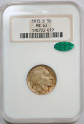 1915 D Buffalo Head Nickel Ngc Ms 63 Uncirculated Cac Approved Old Fatty Hold...
