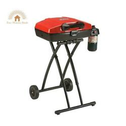 Portable Outdoor Propane Grill Wheeled Camping Cookware Bbq Equipment Yard Red