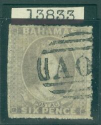Sg 6 Bahamas 1861. 6d Grey-lilac, Rough Perf 14-16. Very Fine Used Cat £500...