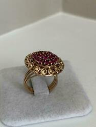 1.50ct Round Cut Ruby Antique Vintage Engagement Ring 14k Yellow Gold Finish