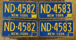 New York 1967 Consecutive Number License Plate Pairs Nd-4582 And Nd-4583