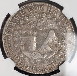 1837 South Peru Republic.andnbsplarge Silver 8 Reales Coin. Cuzco Mint Ngc Au-53