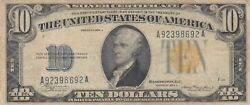 Us Unites States 10 Dollars 1934 North Africa Wwii Imergency Issue F148 Vf