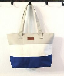 PERFECT Beach Tote Beige White Navy Color Block Bag with Zipper $12.99