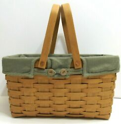 Longaberger 2003 Large Picnic Basket W/ Button Fabric Liner And Plastic Inserts