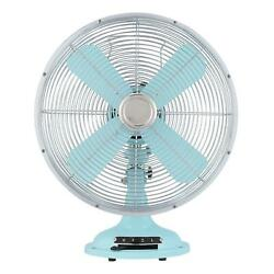 12'' Retro Table 3 Fan Speed Settings And Oscillation Made Of Metal Mint Finish