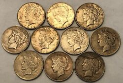 Half-roll Of 10 Mixed Dates Peace Silver Dollars Most Xf And Some Vf. Uod10