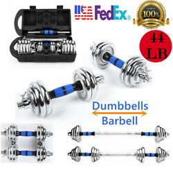 Pair Of Barbell 44lb Adjustable Weight Dumbbell Set Plates Gym Home Body Workout