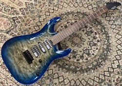 Schecter Ct-3-24-qm-vtr Chacoal Blue Burst Spot Limited Production Model Curved