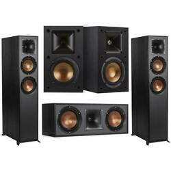 Klipsch Reference R-625fa 5.0 Home Theater Pack Black Textured Wood Grain Vinyl