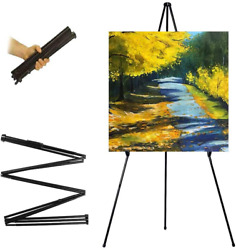 Tall Display Easel Folding Instant Poster Easel Black Steel Metal Telescoping