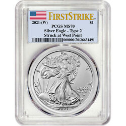 2021 W American Silver Eagle Type 2 - Pcgs Ms70 First Strike