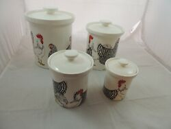 Fitz And Floyd Rooster And Hens Coq Du Village Canister Set Set Of 4