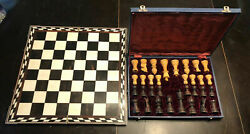 Rare Ooak Handmade Antique Inlaid Marble Marquetry Chess Set Carved Wood Pieces