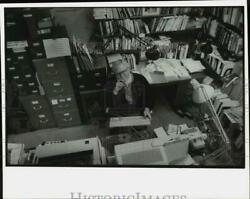 Press Photo Professor Clarence Brown In Princeton University Office, New Jersey